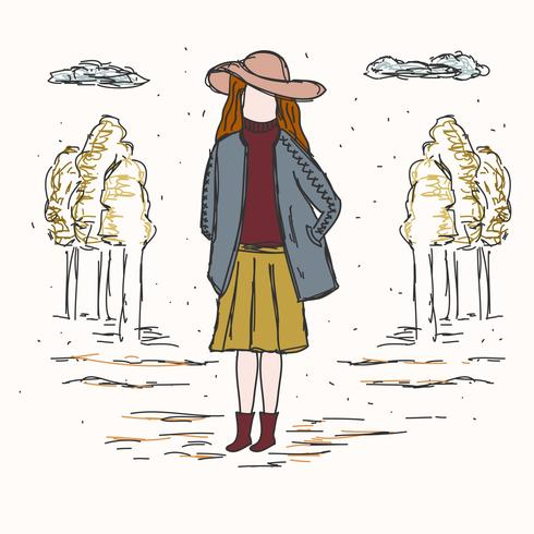 Girl In Fall Fashion Vector - Download Free Vector Art, Stock