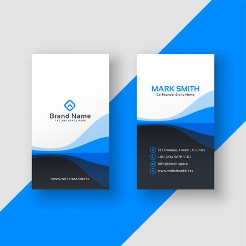 vertical business card blue template - Download Free Vector Art