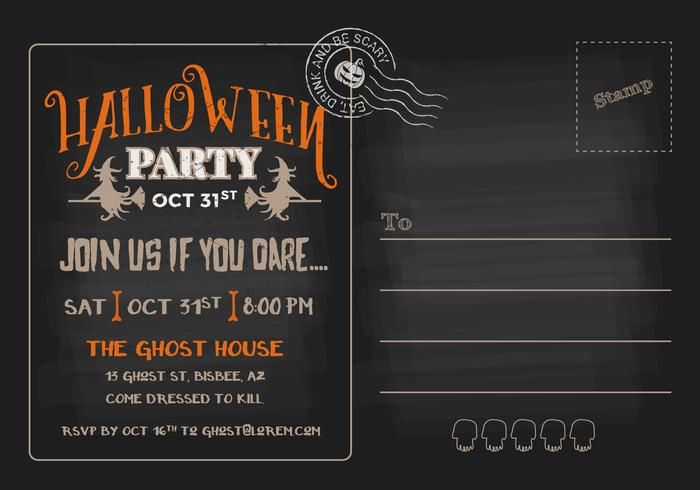 Halloween Party RSVP Postcard Invitation Template - Download Free