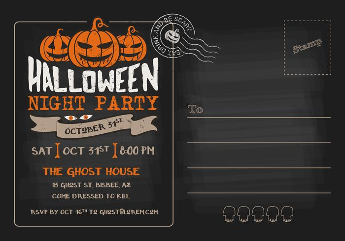 Halloween Night Party RSVP Postcard Invitation Template - Download