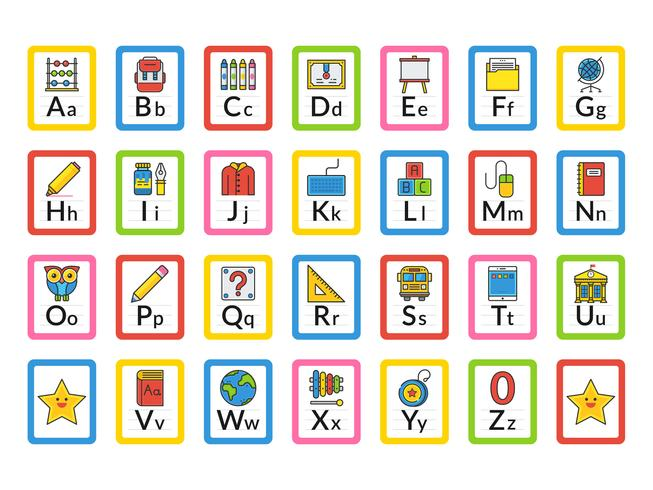 School Themed Alphabet Flash Cards - Download Free Vector Art, Stock