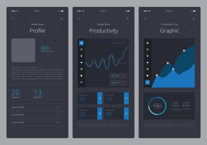 Charts UI Kit Mobile Element Set - Download Free Vector Art, Stock