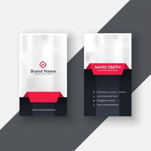 professional vertical business card modern design in red black t