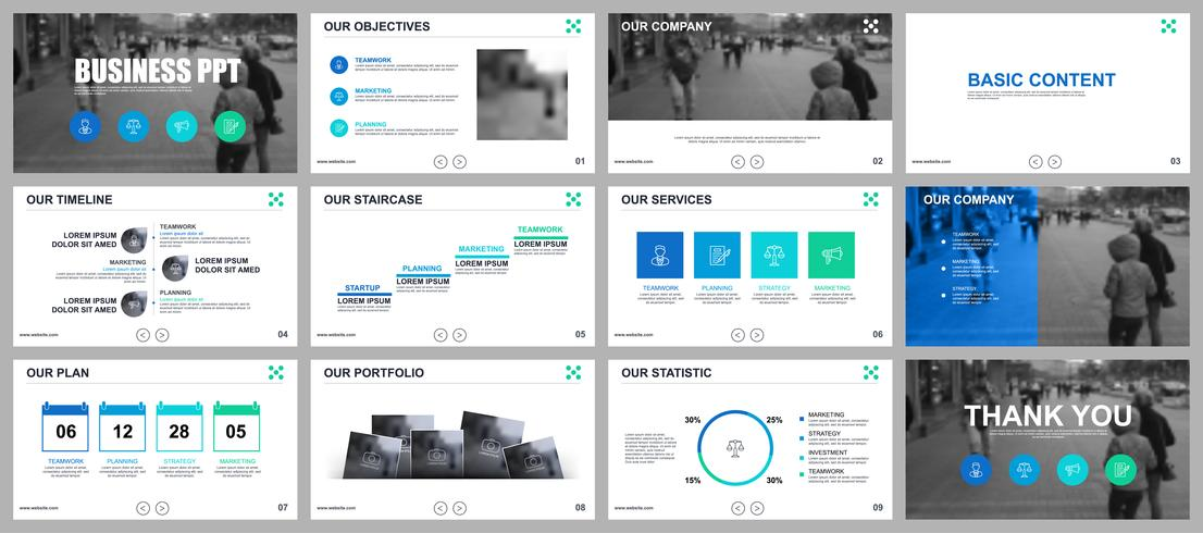 Presentación de negocios en PowerPoint de plantillas de diapositivas