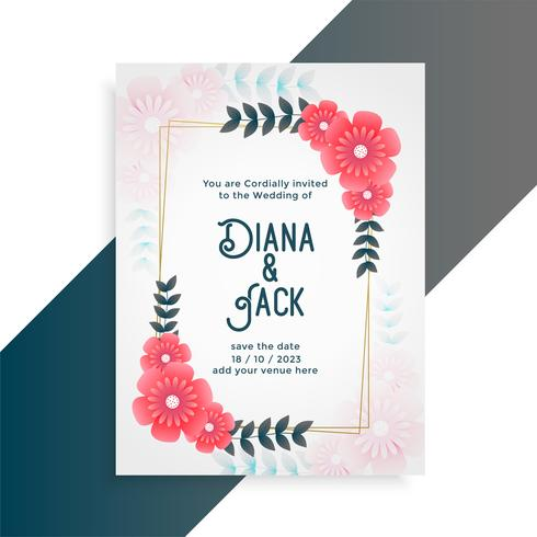 flower wedding card invitation template - Download Free Vector Art