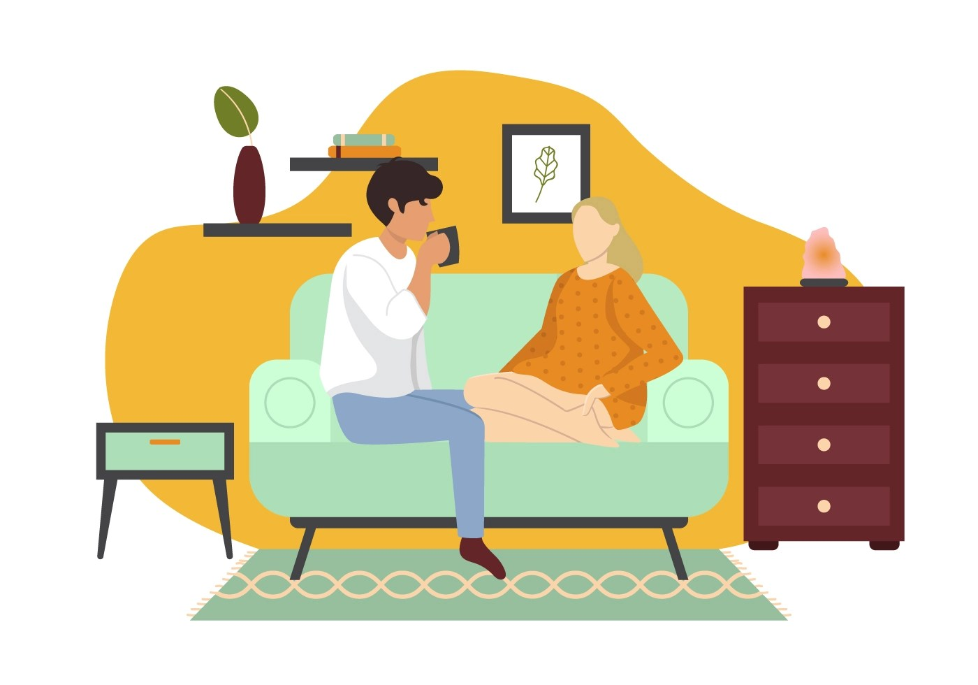 Sofa Vector Free Couple Sitting On Sofa Download Free Vector Art Stock Graphics