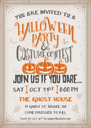 Halloween party and costume contest Invitation with scary pumpkins