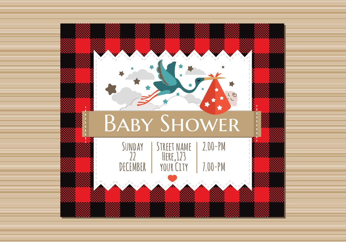 Newborn Stroller Buffalo Plaid Baby Shower Invitation Download Free
