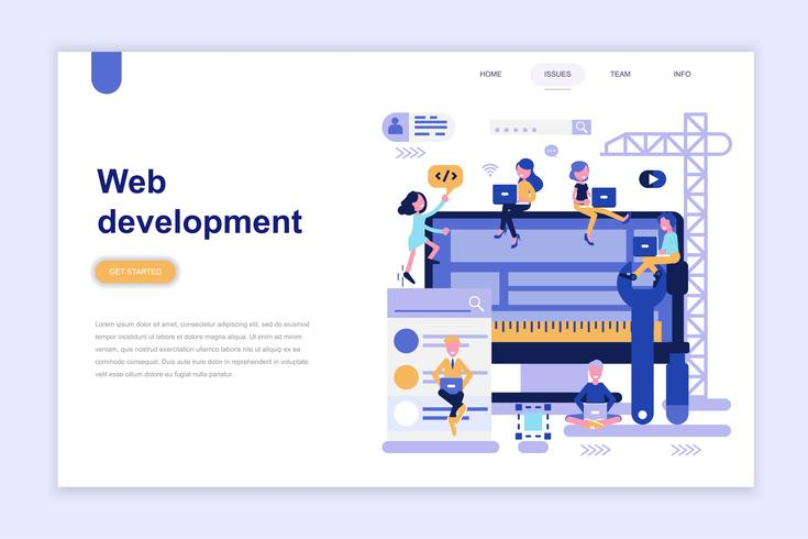 Landing page template of web development - Download Free Vector Art