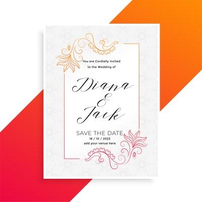 lovely floral wedding invitation card design template ...