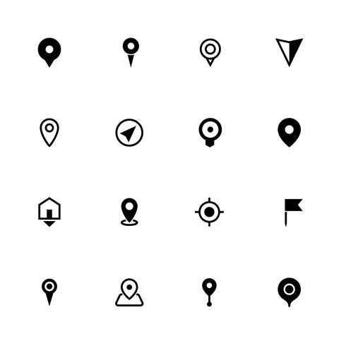 Map location icons collection, symbol for apps, websites or print