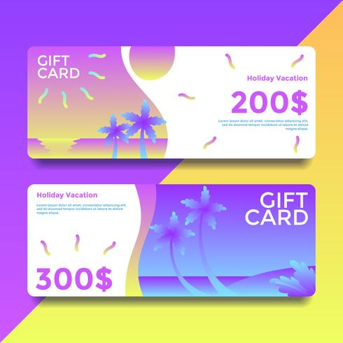 Holiday Vacation Gift Card Voucher Templates Vector - Download Free