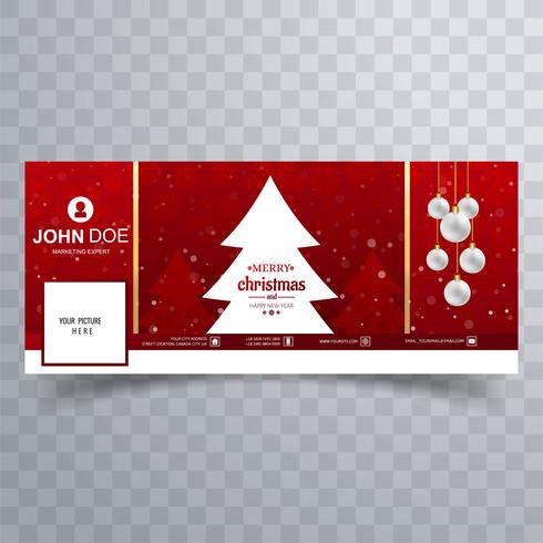 Merry christmas ball with facebook banner template design - Download