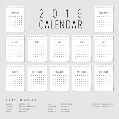 Printable Calendar 2019 Set Of 12 Monthly Template - Download Free