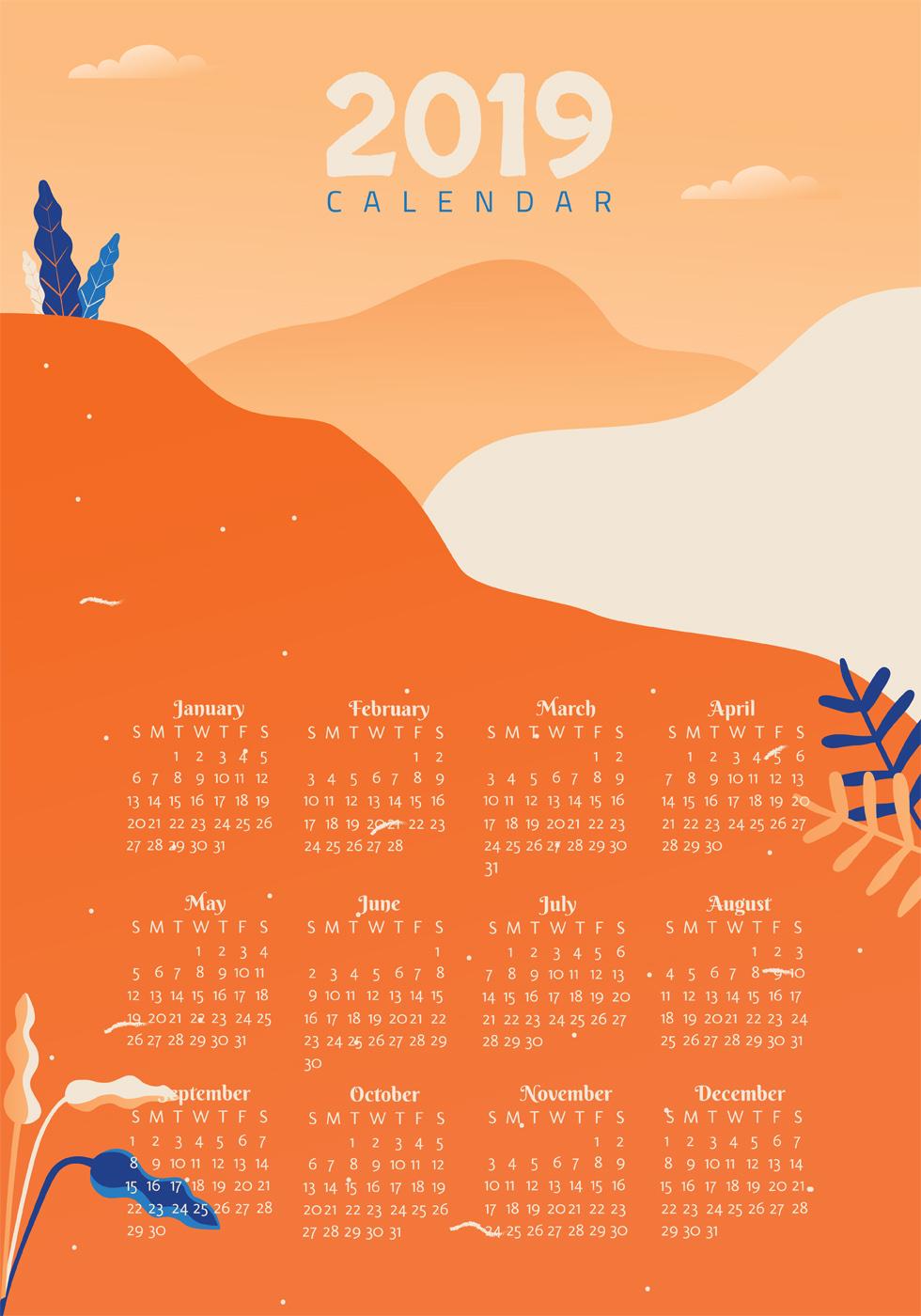 2019 calendar printable monthly