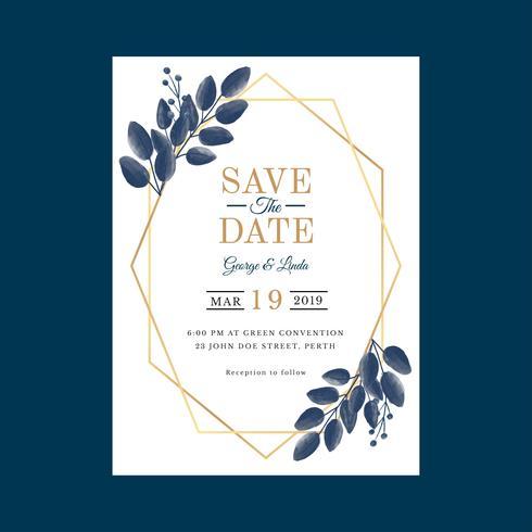 Geometric Watercolor Wedding Invitation Template Vector - Download