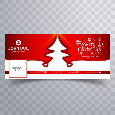Merry christmas card facebook banner template design - Download Free