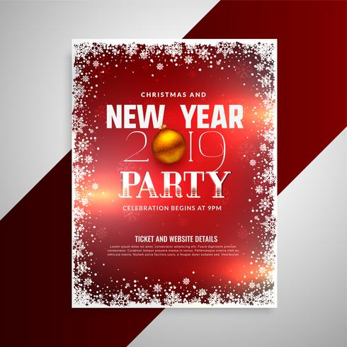 happy new year party flyer design template - Download Free Vector