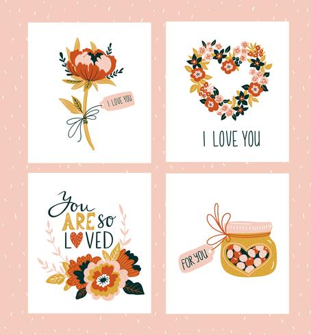 Vector illustration Valentines day greeting cards templates with