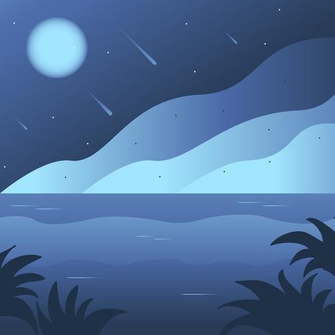 Night time Ocean Background scene - Download Free Vector Art, Stock