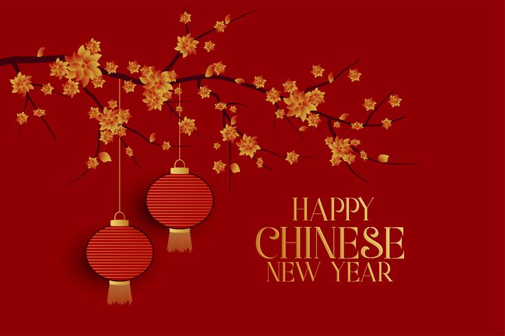 happy chinese new year red background with tree and hanging lamps