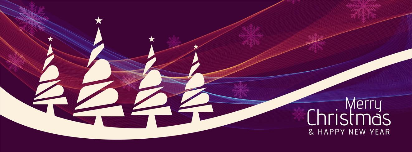 Abstract wavy Merry Christmas banner template - Download Free Vector