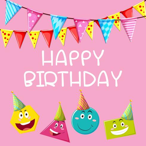 Happy Birthday card template with different shapes - Download Free