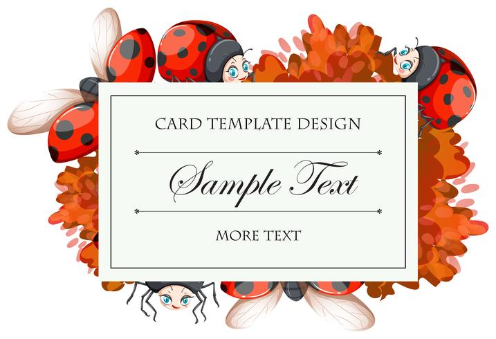 Card template with ladybugs - Download Free Vector Art, Stock