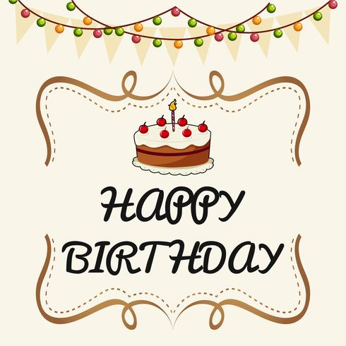 Happy Birthday card template with cake and lights - Download Free