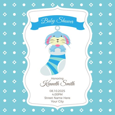 Baby shower card template with rabbit - Download Free Vector Art