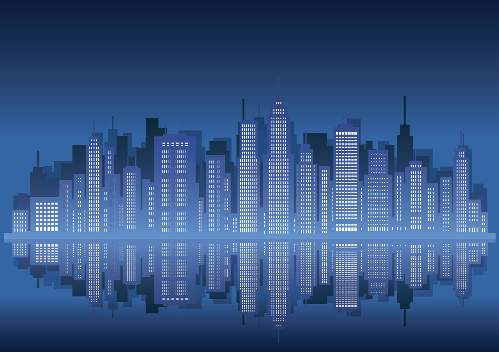 Clipart Water Free Illustration Cityscape With Skyscrapers Vector Illustration