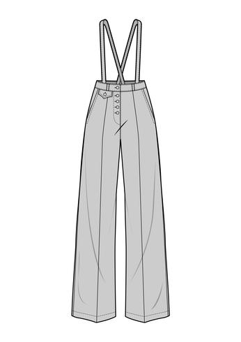Pants fashion flat technical drawing template - Download Free Vector