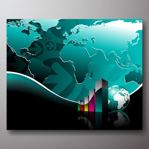 Business illustration with world map on blue background - Download