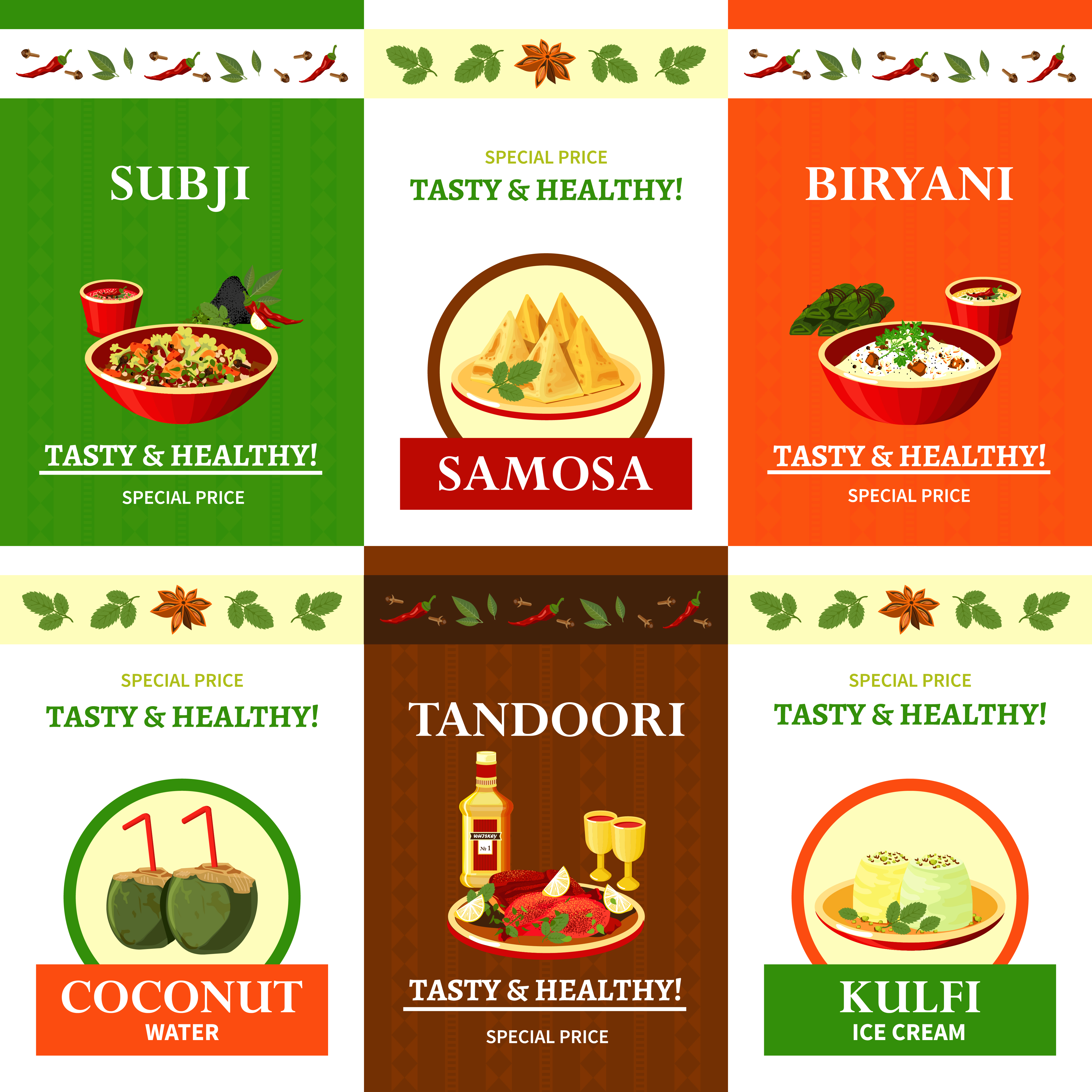 Poster Cuisine Indian Cuisine Flat Icons Set Poster Download Free Vector Art
