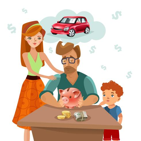 Family Budget Finance Plan Flat Poster - Download Free Vector Art