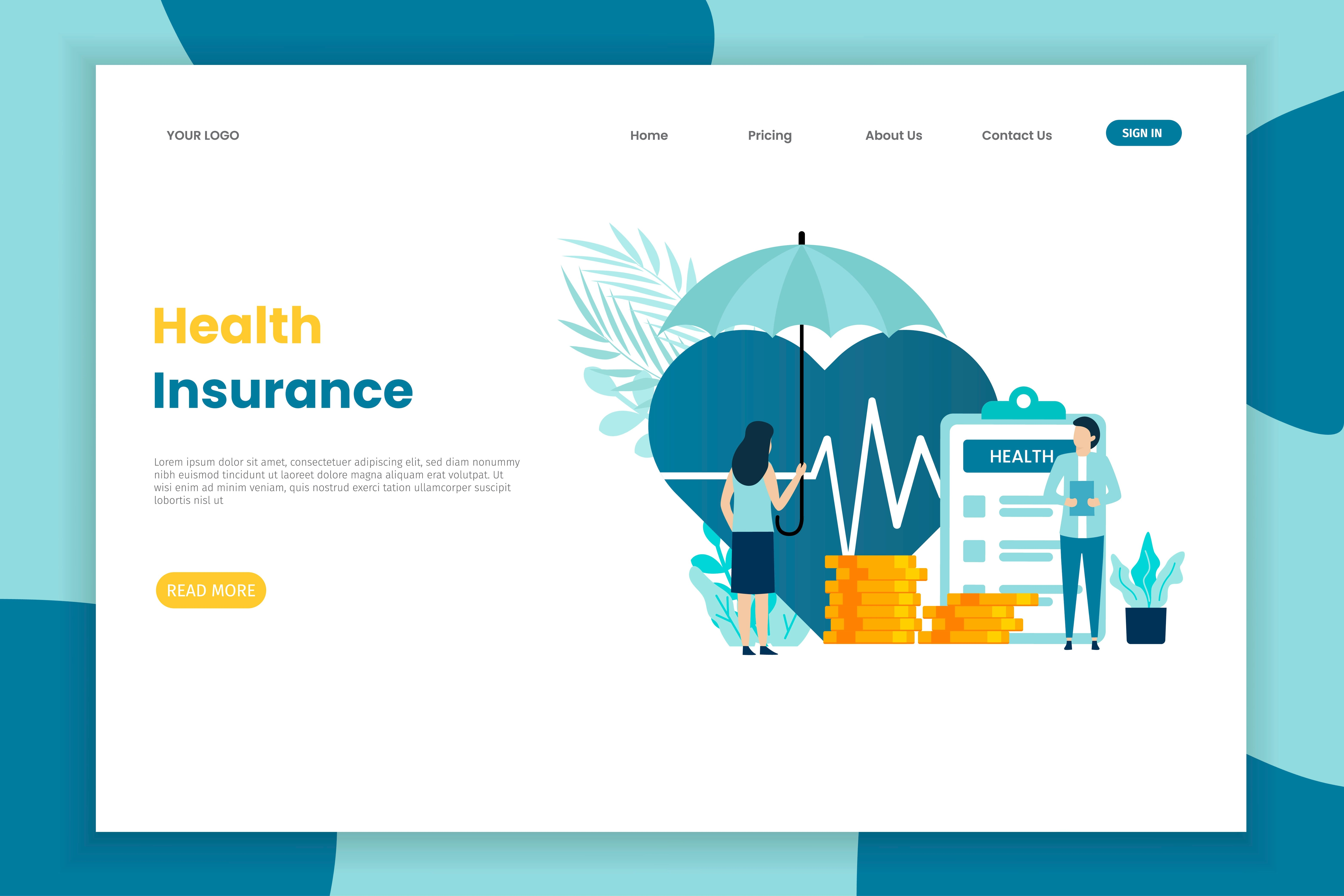 Woman With Umbrella Health Insurance Landing Page 1010209 Vector Art At Vecteezy