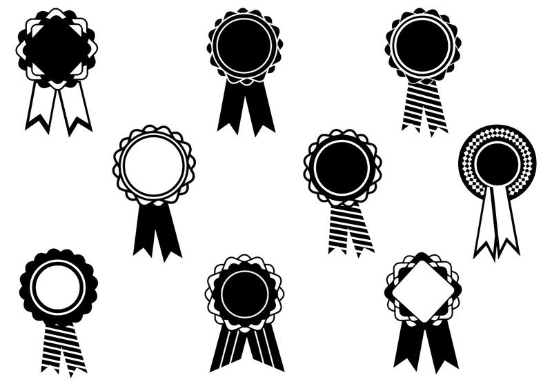 film awards set of black and white silhouette award wreath vector