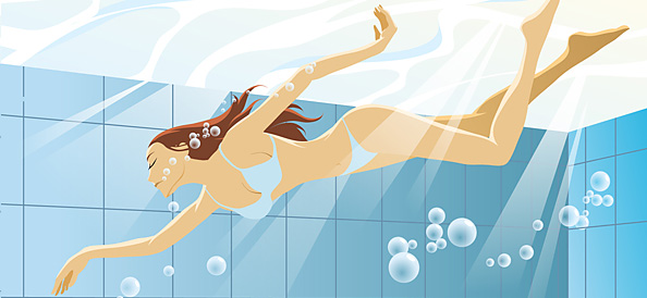 Swimming Woman Vector Illustration
