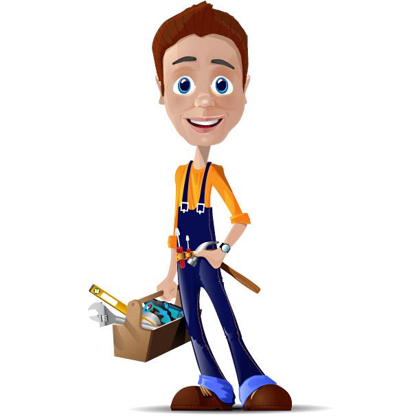 Cartoon Characters Vector : Worker vector character characters