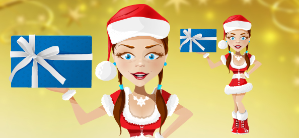 Santa Girl Vector Character
