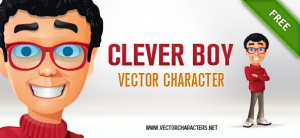 Clever Boy Vector Character