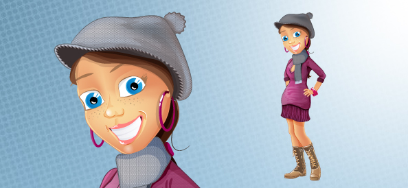 Fashion Girl Vector Character