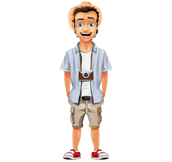 2 Male Cartoon Characters : Male vector character with hat and camera characters