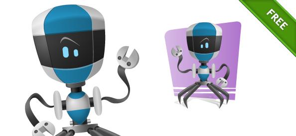 Blue Robot Vector Character