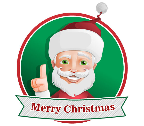 Santa Claus Vector Character with Christmas Ribbon Preview
