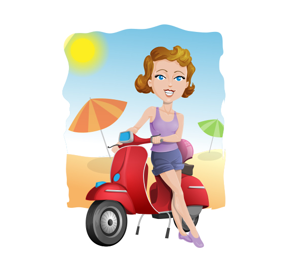 Vector Girl on a Scooter