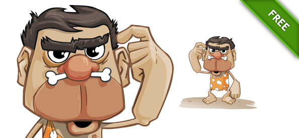 Illustration of a Caveman Vector Character