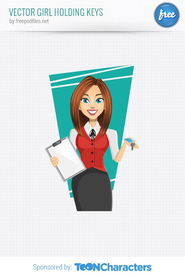 Vector girl holding keys