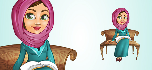 Arab Vector Girl on a Bench