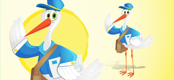 Vector Stork Postman